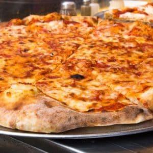 Freshly made margherita pizza